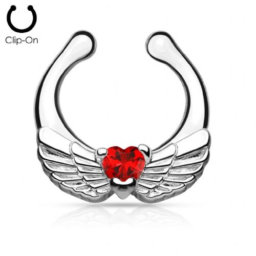 Angel Wings Non-Piercing Septum Ring Hanger with Red CZ Gems